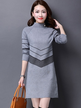 Ericdress Stand Collar Straight Sweater Dress