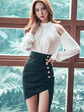 Ericdress Ladylike Cold Shoulder Blouse Suit