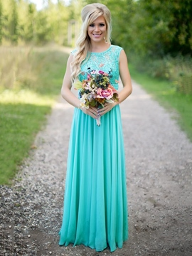 Ericdress Beautiful Jewel Sequins Lace A Line Long Bridesmaid Dress