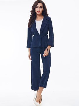 Ericdress Fashion Stripe Blazer Suit