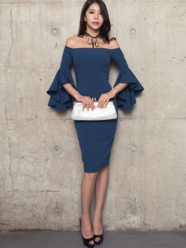 Ericdress Slash Neck Ruffle Sleeve Sheath Dress