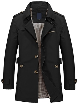 Trench-Coat Ericdress plaine revers simple boutonnage Vogue hommes