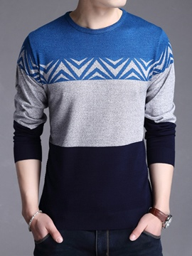 Ericdress Color Block Jacquard Vogue Slim Men's Sweater