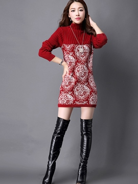 Ericdress Turtleneck Straight Long Sleeve Sweater Dress
