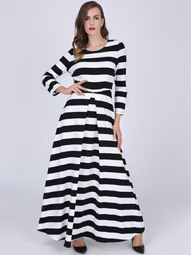 Ericdress Stripe Round Neck Long Sleeve Expansion Maxi Dress