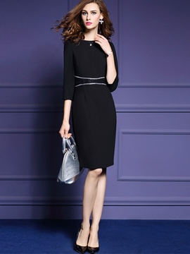 Ericdress Plain Patchwork Little Black Dress