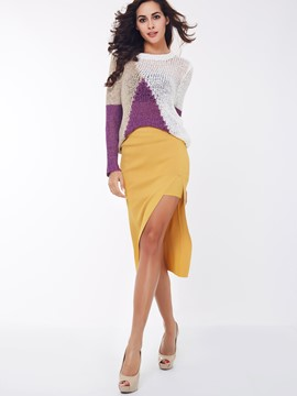 Ericdress Unique Solid Color Split Skirt Suit