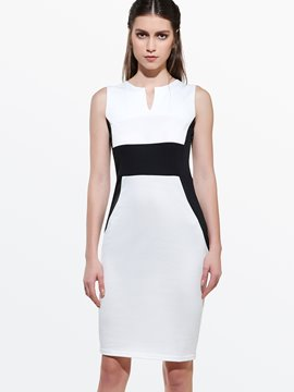 Ericdress V-Neck Patchwork Sheath Dress