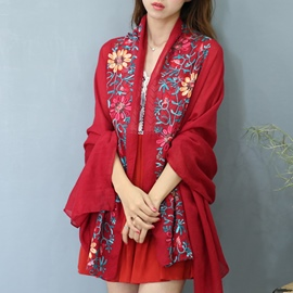 Ericdress Flowers Embroidery Shawl Scarf