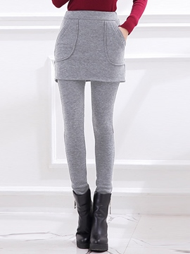 Ericdress Solid Color Double-Layer Pocket Leggings Pants