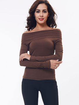 Ericdress European Solid Color Slim Slash Knitwear