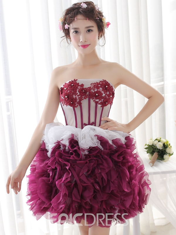 Ericdress A-Line Strapless Appliques Pearls Pick-Ups Short Homecoming Dress