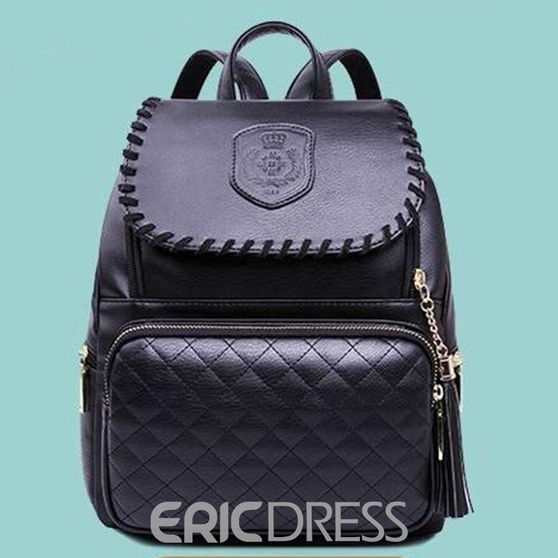Ericdress Casual Black Plaid Backpack