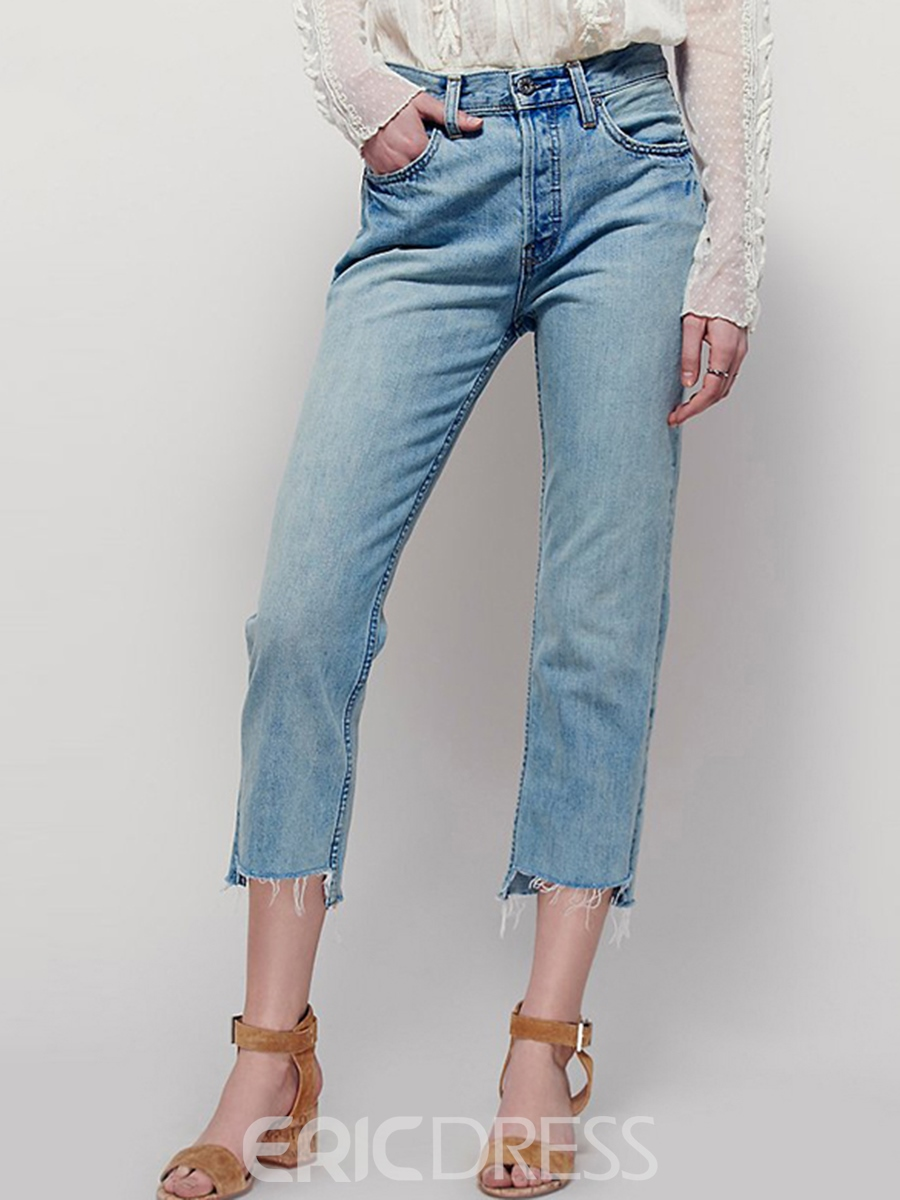 Ericdress Solid Color Raw Edges Nine Points Jeans 12422972