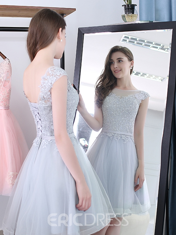 Ericdress A-Line Scoop Cap Sleeves Appliques Sashes Mini Homecoming Dress