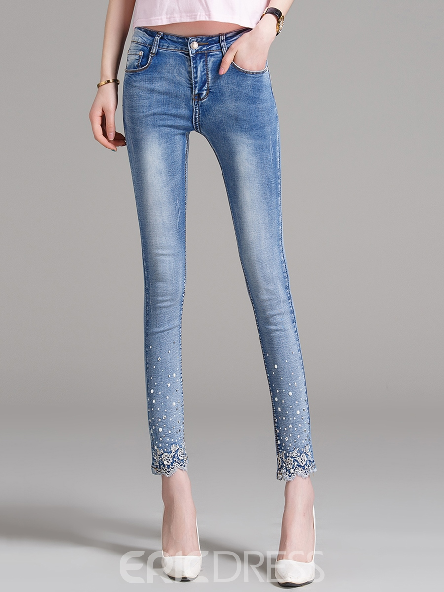 Ericdress Skinny Embroidery Jeans 12422964