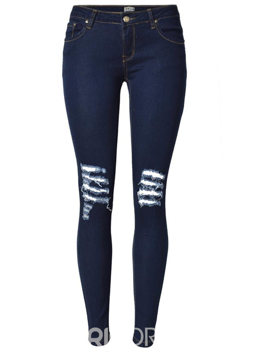 Ericdress Fashion Skinny Ripped Jeans 12422996