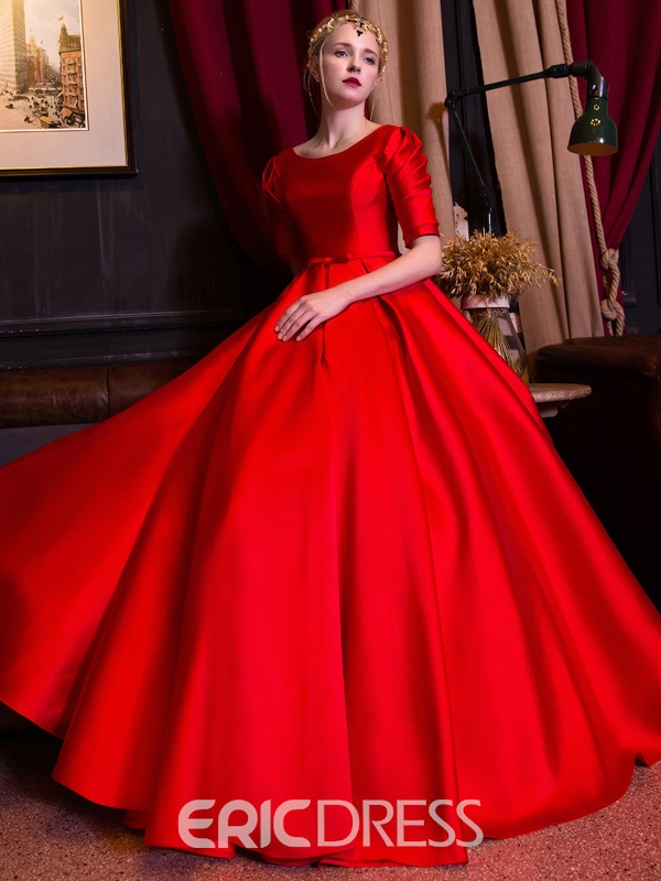 Ericdress Bateau Ball Gown Half Sleeves Pleats Floor-Length Quinceanera Dress