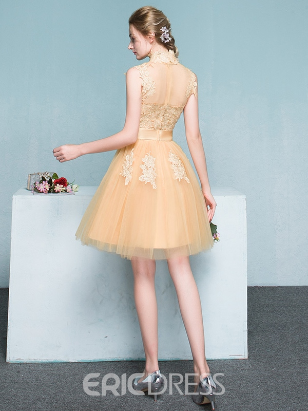 Ericdress A-Line High Neck Appliques Bowknot Sashes Mini Homecoming Dress