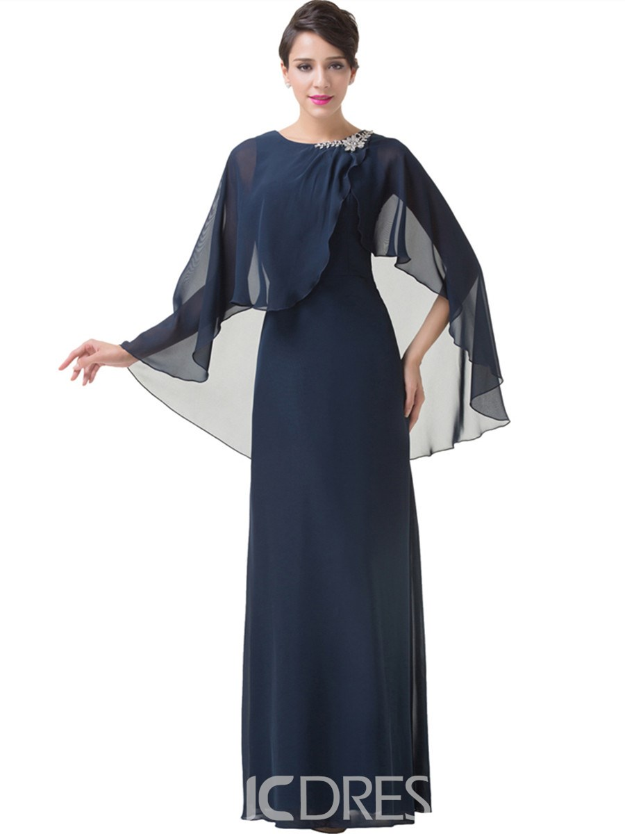 Ericdress Long Sheath Mother of the Bride Dress with Sleeve
