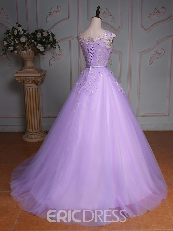 Ericdress Cap Sleeves Lace Sequins Quinceanera Dress With Beadings