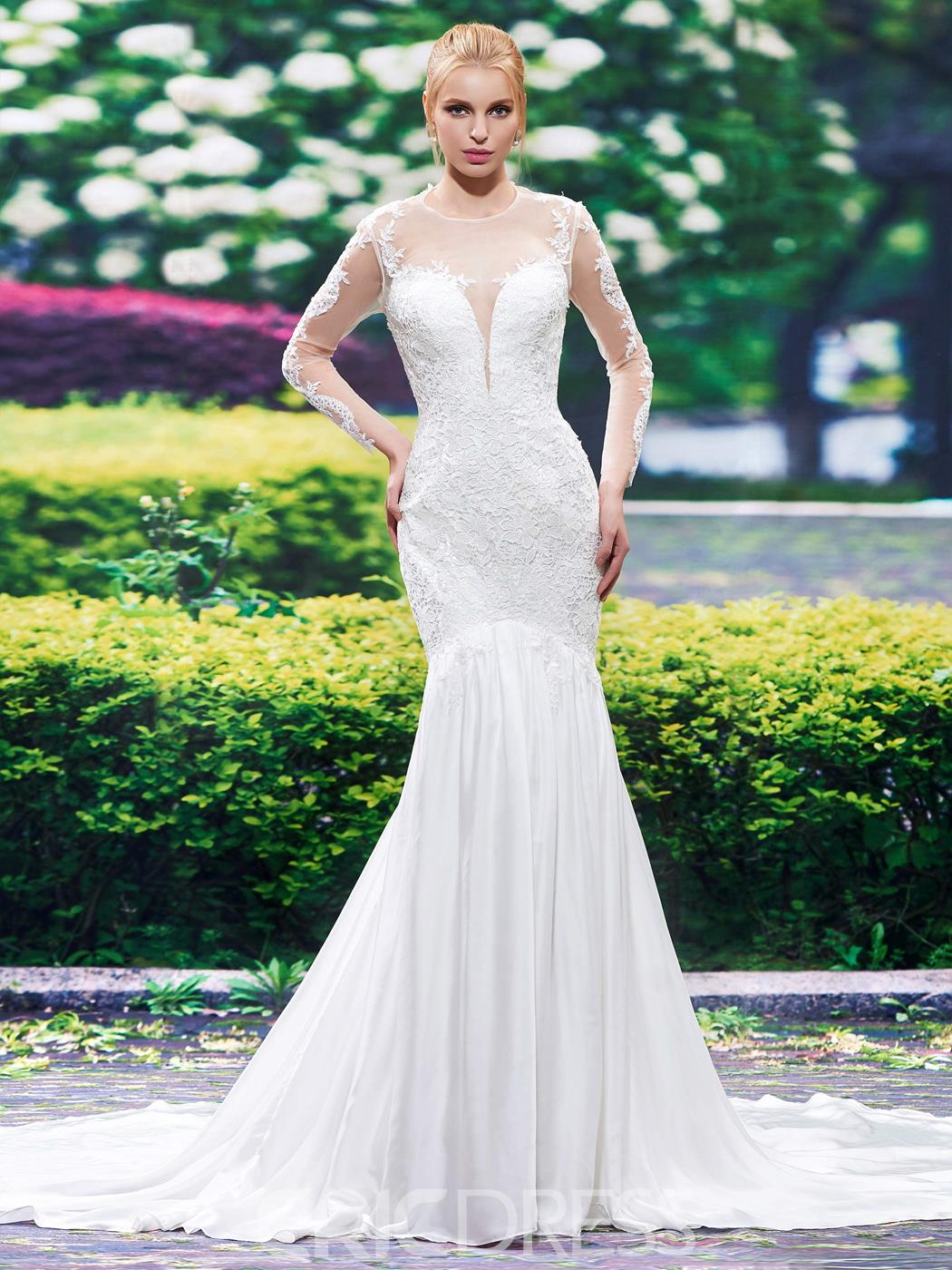 Ericdress Beautiful Illusion Neckline Backless Long Sleeves Mermaid Wedding Dress