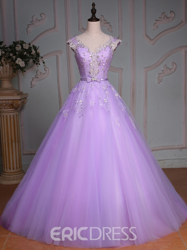 Ericdress Cap Sleeves Lace Sequins Quinceanera Dress With Beadings ...