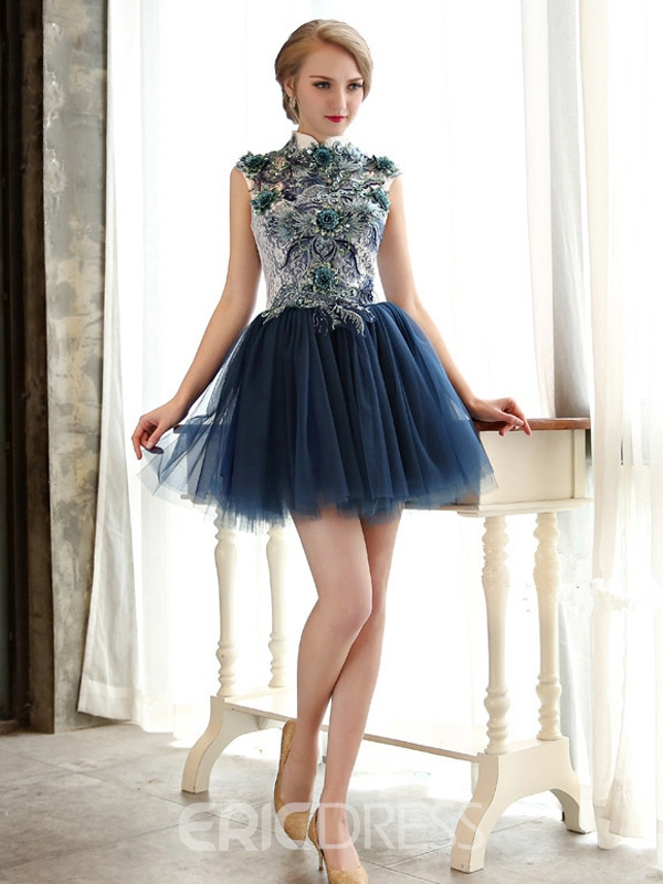 Ericdress A-Line Scoop Neck Flowers Mini Homecoming Dress