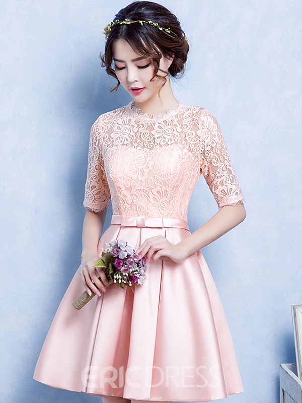 Ericdress A-Line Jewel Neck Half Sleeves Lace Short Homecoming Dress
