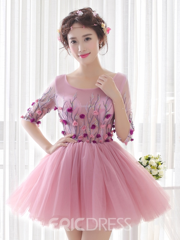 Ericdress A-Line Scoop Half Sleeves Flowers Short Homecoming Dress
