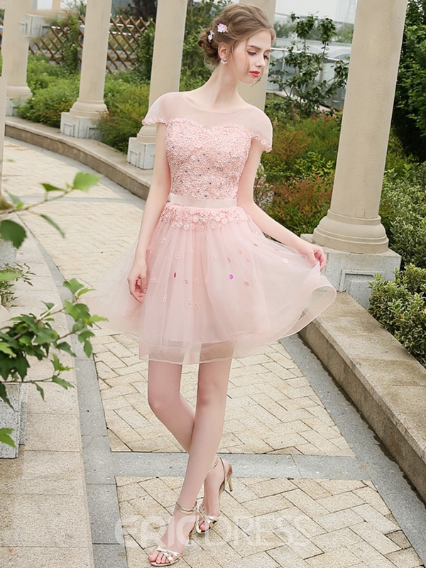Ericdress A-Line Scoop Cap Sleeves Beading Short Homecoming Dress