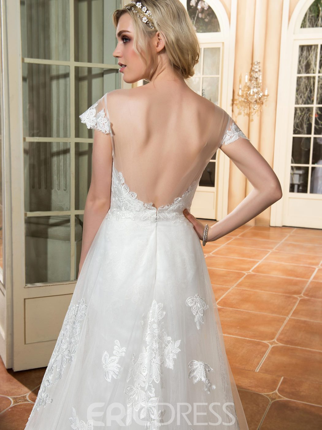 Ericdress Beautiful Illusion Neckline Appliques A Line Backless Wedding Dress