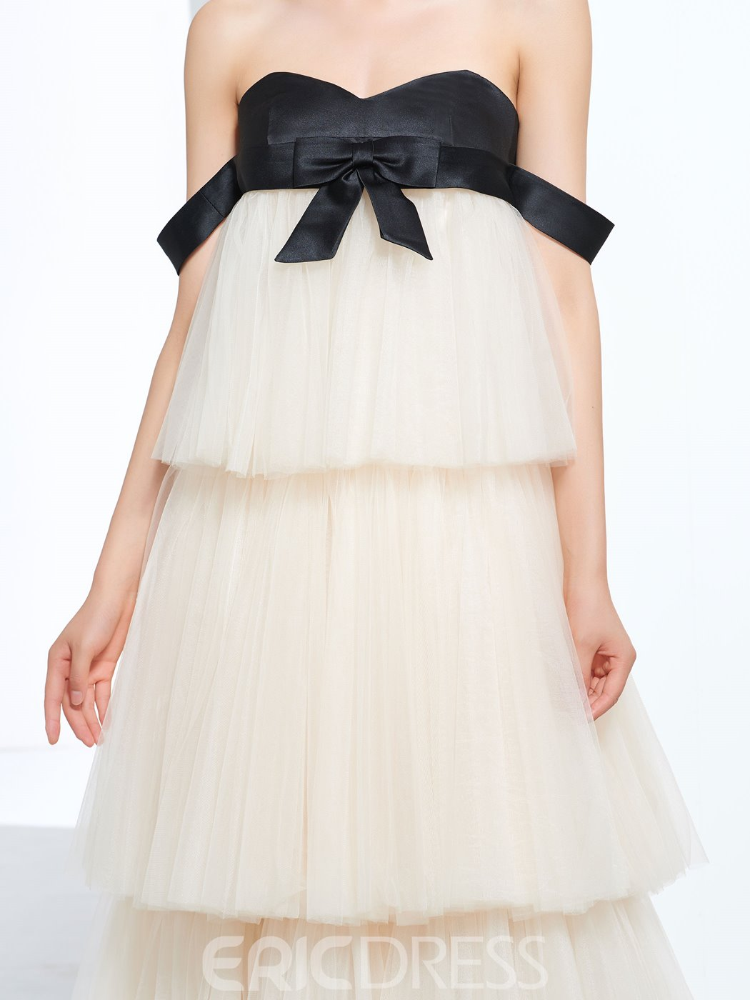 Ericdress A-Line Sweetheart Bowknot Tiered Floor-Length Prom Dress