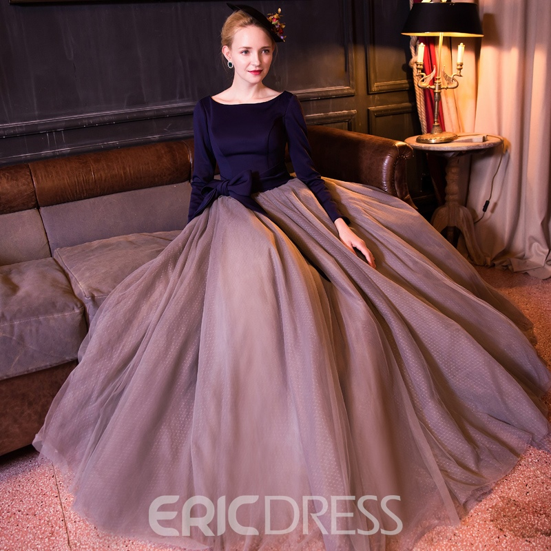 Ericdress Bateau Ball Gown 3/4 Length Sleeves Bowknot Sashes Floor-Length Quinceanera Dress