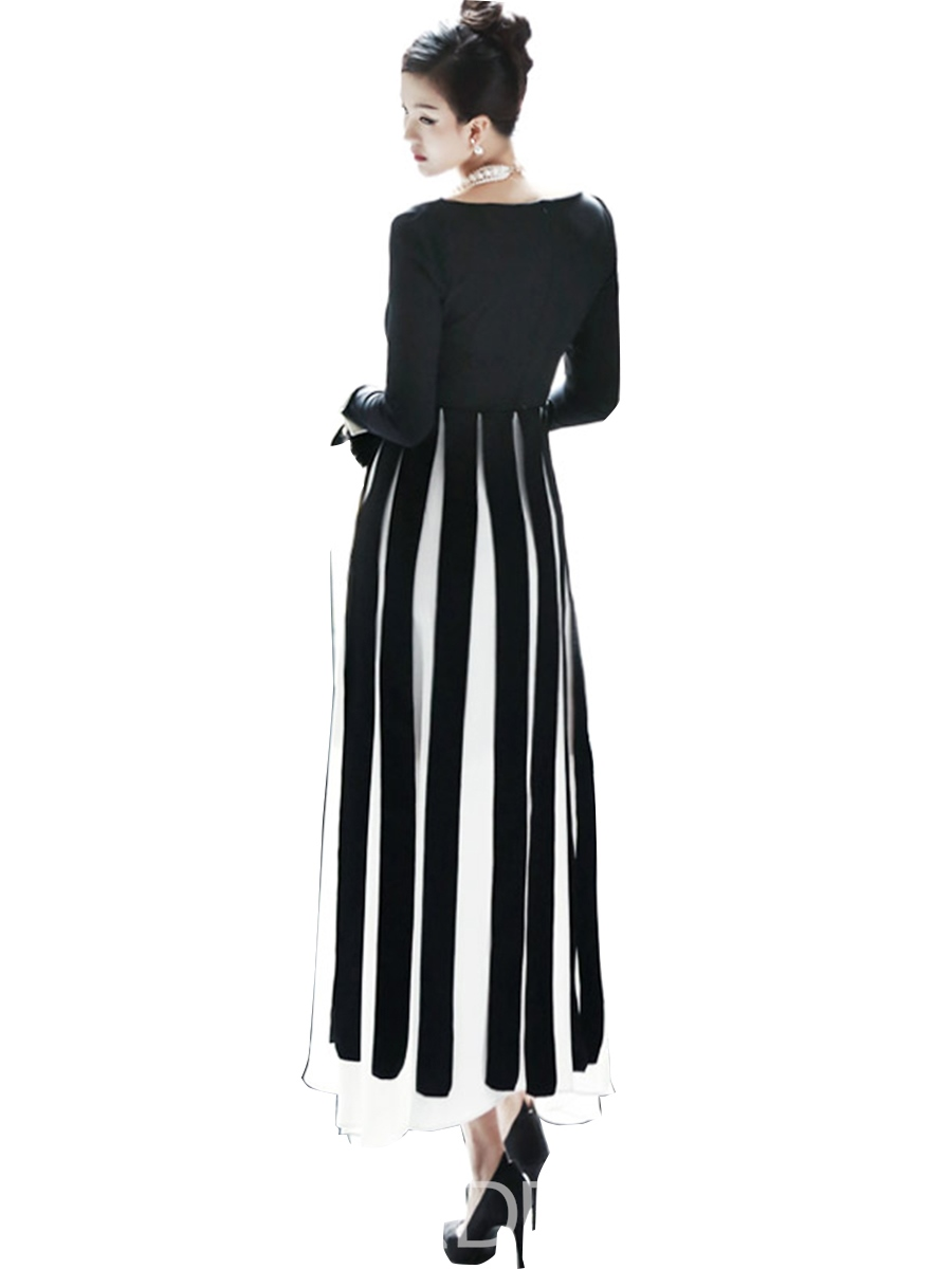 Ericdress Color Block Strip Patchwork Maxi Dress