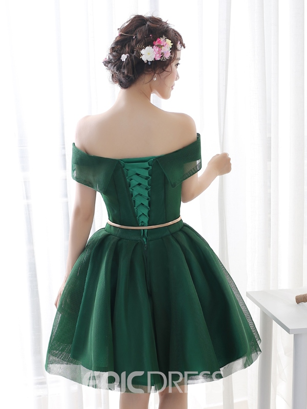 Ericdress A-Line Scoop Neck Half Sleeves Flowers Short Homecoming Dress