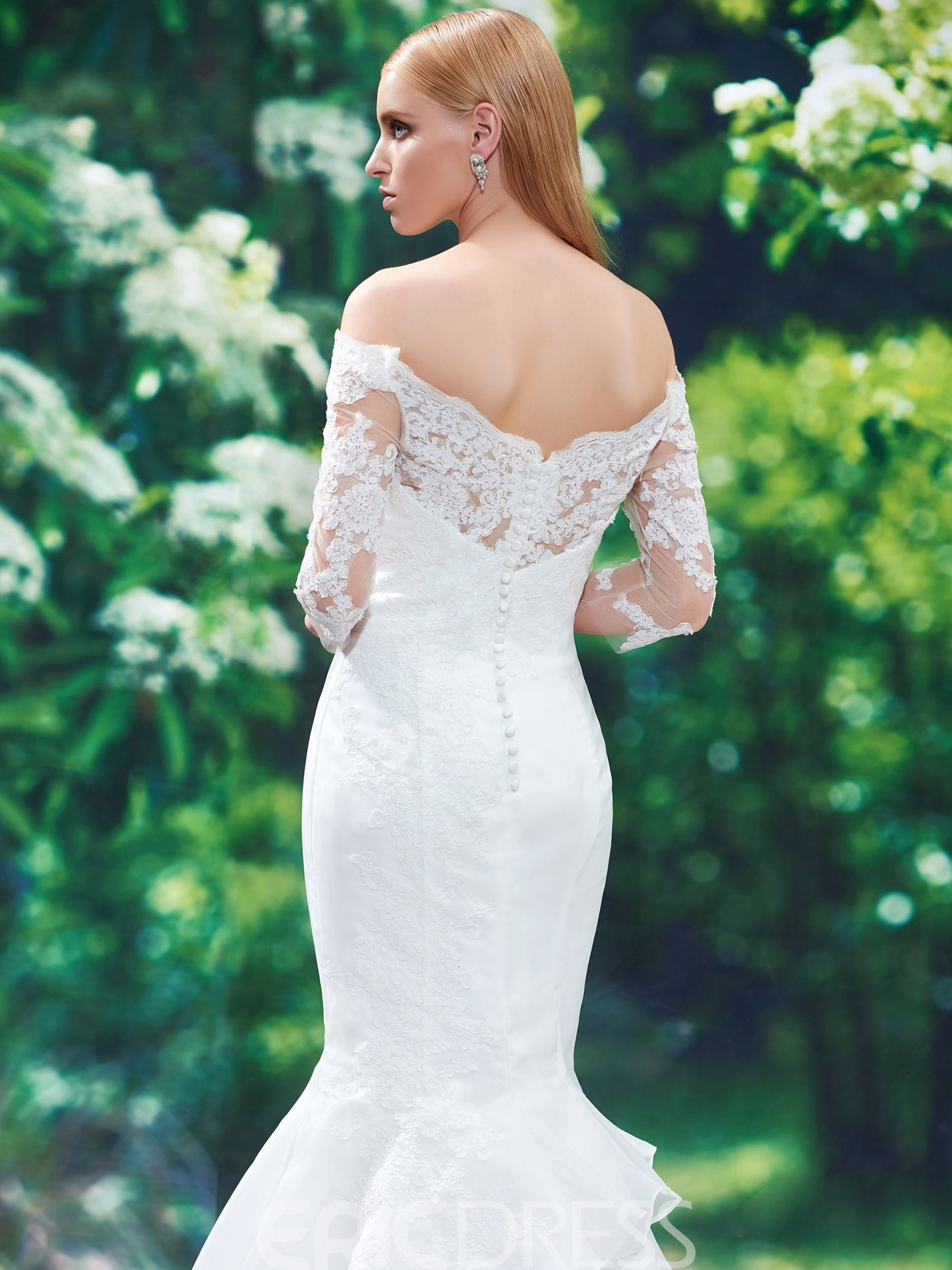 Ericdress Off The Shoulder Mermaid Wedding Dress With Sleeves