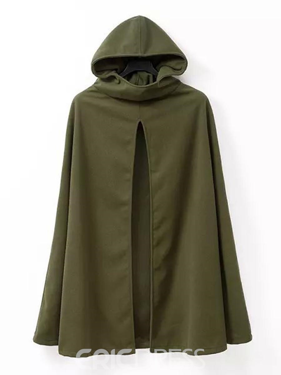 Ericdress Army Green Loose Hooded Cape