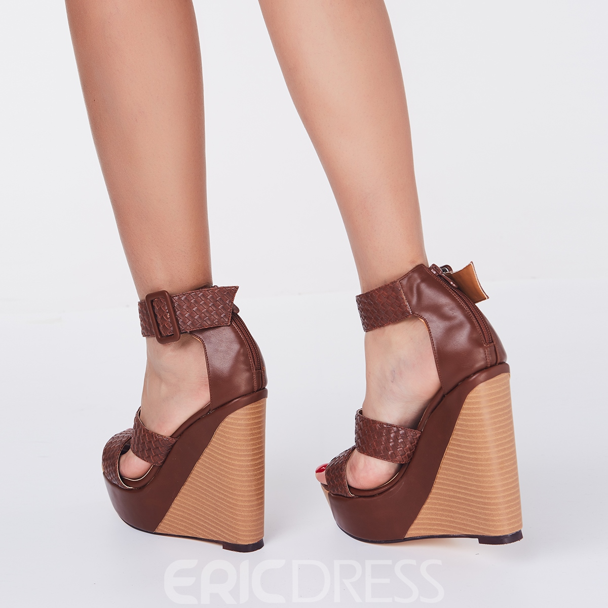 Comfortable Wedge Heel Ankle Strap Buckle High Heel Sandals