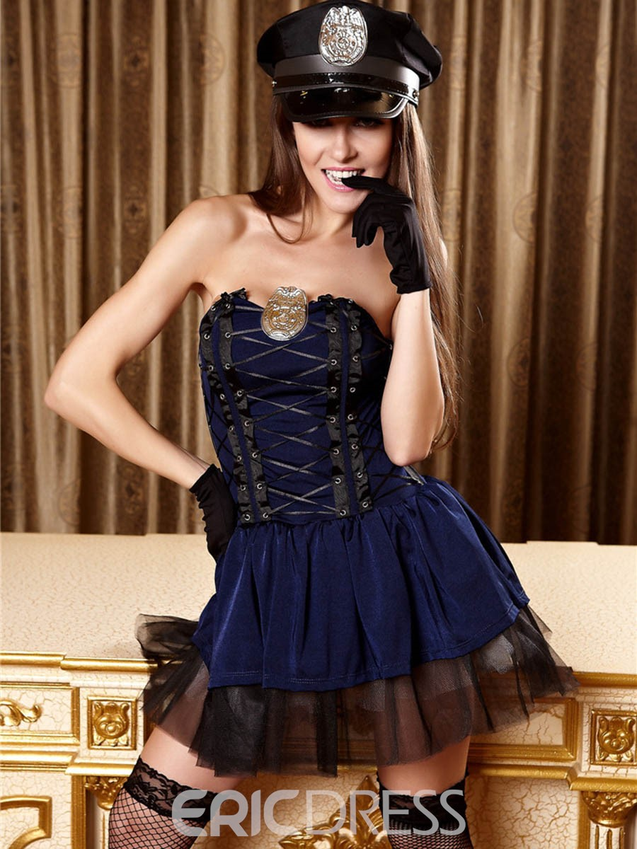 Ericdress Mesh Patchwork Sexy Strapless Police Cosplay Costume