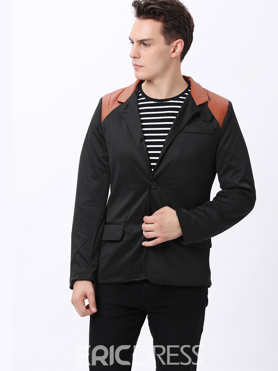 Ericdress Patchwork Stand Collar Men's Coat