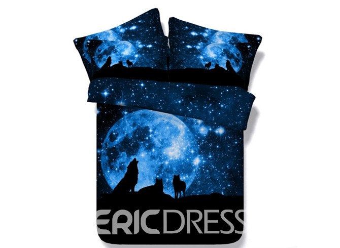 Ericdress Starry Night Wolves Howling Print 3D Bedding Sets