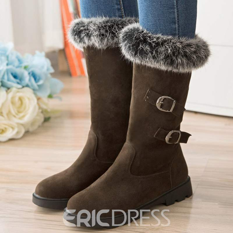 Ericdress Delicate Furry Hasp Snow Boots