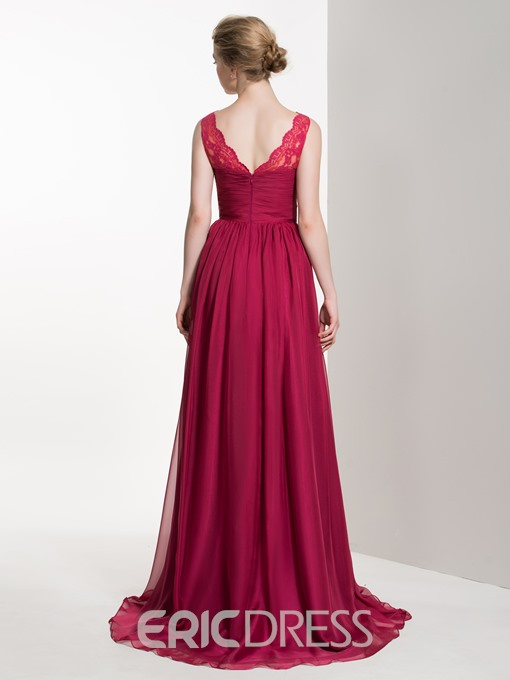 Ericdress Simple V Neck A Line Lace Long Bridesmaid Dress