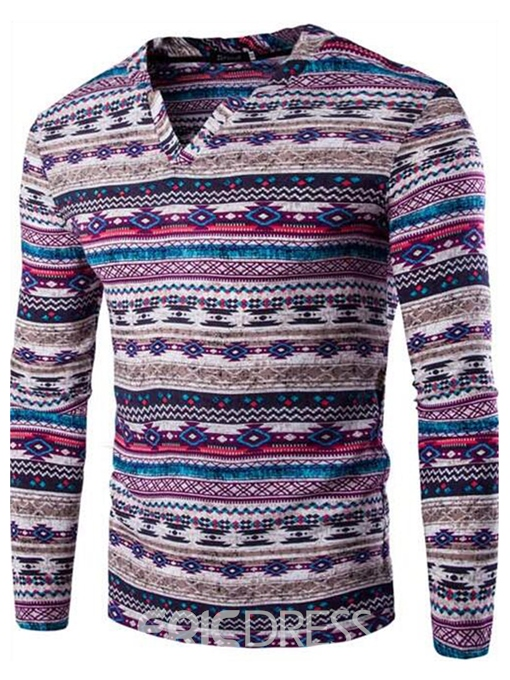 Ericdress Ethnic Style V-Neck Men's T-Shirt