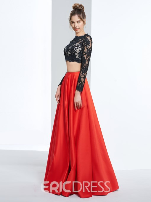 Ericdress Two Pieces Long Sleeves A-Line Scalloped-Edge Floor-Length Prom Dress