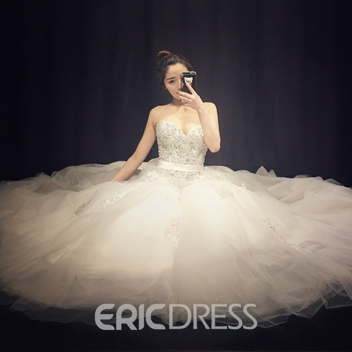 Ericdress Sweetheart Appliques Beaded A Line Wedding Dress