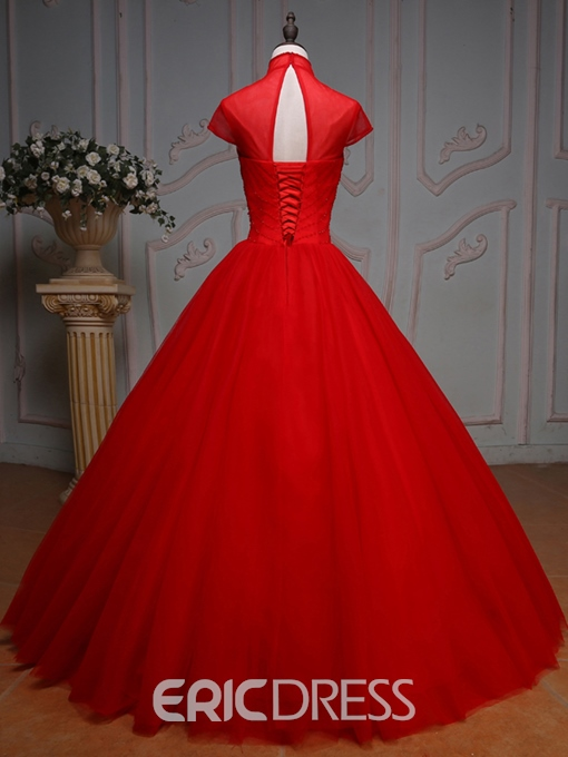 Ericdress High Neck Ball Gown Cap Sleeves Beading Crystal Pleats Long Quinceanera Dress