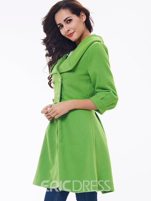 Ericdress Slim Double-Breasted Turn-Down Plain Coat