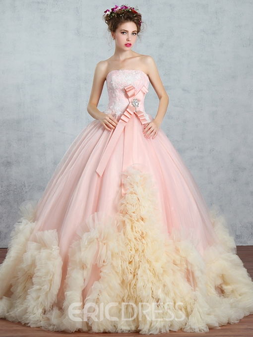 Ericdress Strapless Ball Gown Appliques Beading Bowknot Floor-Length Quinceanera Dress